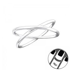925 Sterling Silver Double Cross Midi Ring